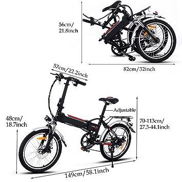 AIMADO Bicicletas Electricas de Montaña Plegable 18,7 Pulgadas Para Mujeres, E-bike