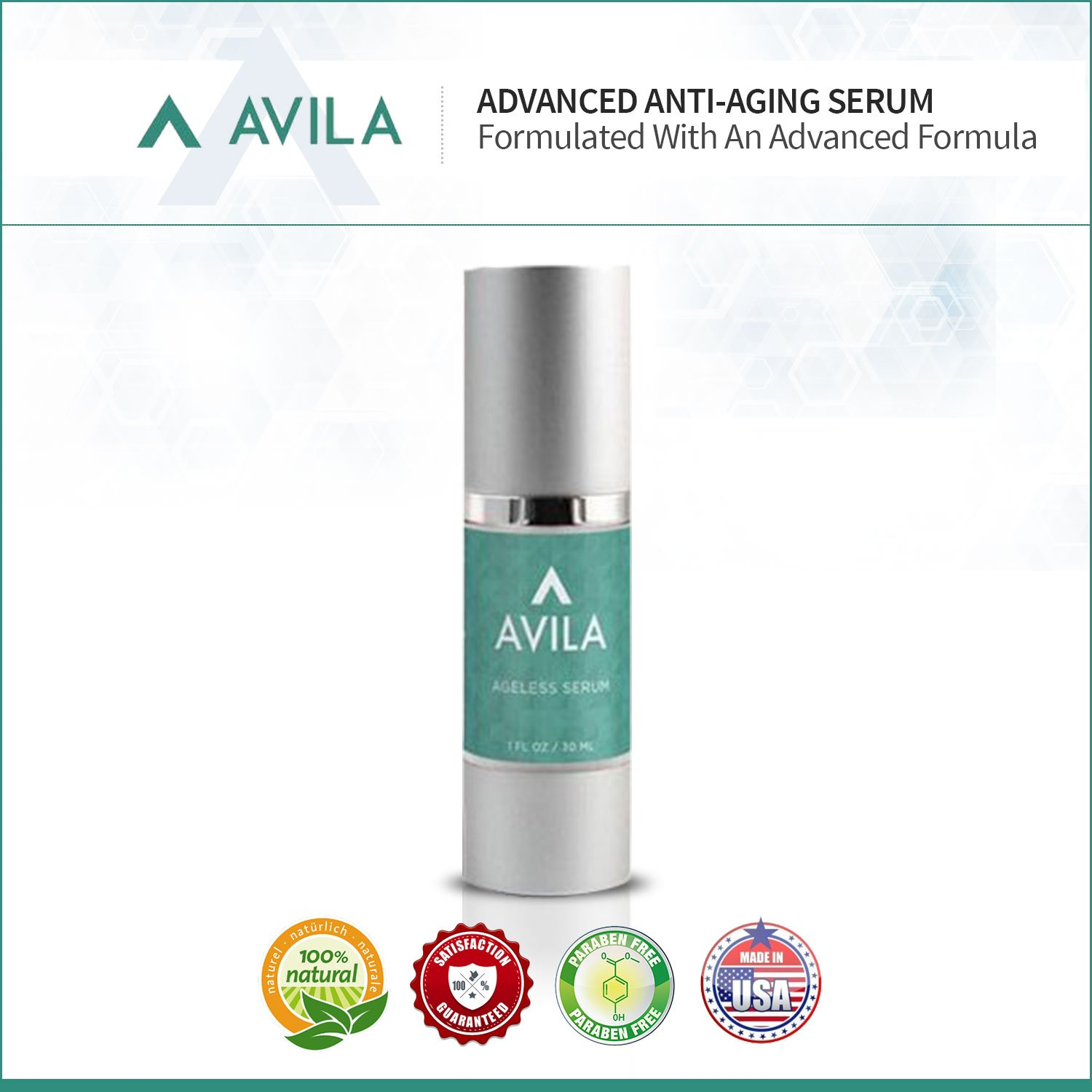 Avila Skincare Ageless Serum- Best Selling Serum Formula To Boost Collagen and Elastin, Deeply Hydrate Skin and Diminish Fine Lines and Wrinkles - Improved Formula