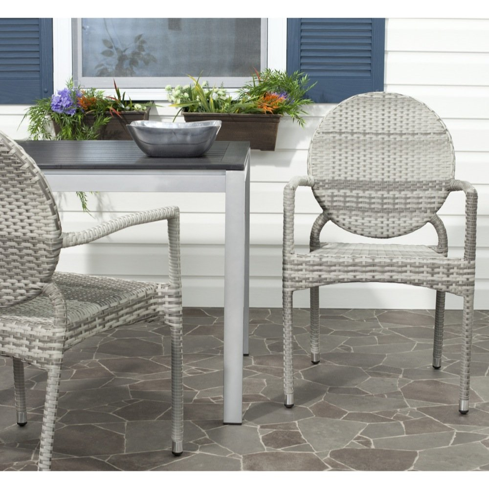 Safavieh Home Collection Valdez Grey Indoor-Outdoor Stacking Arm Chair