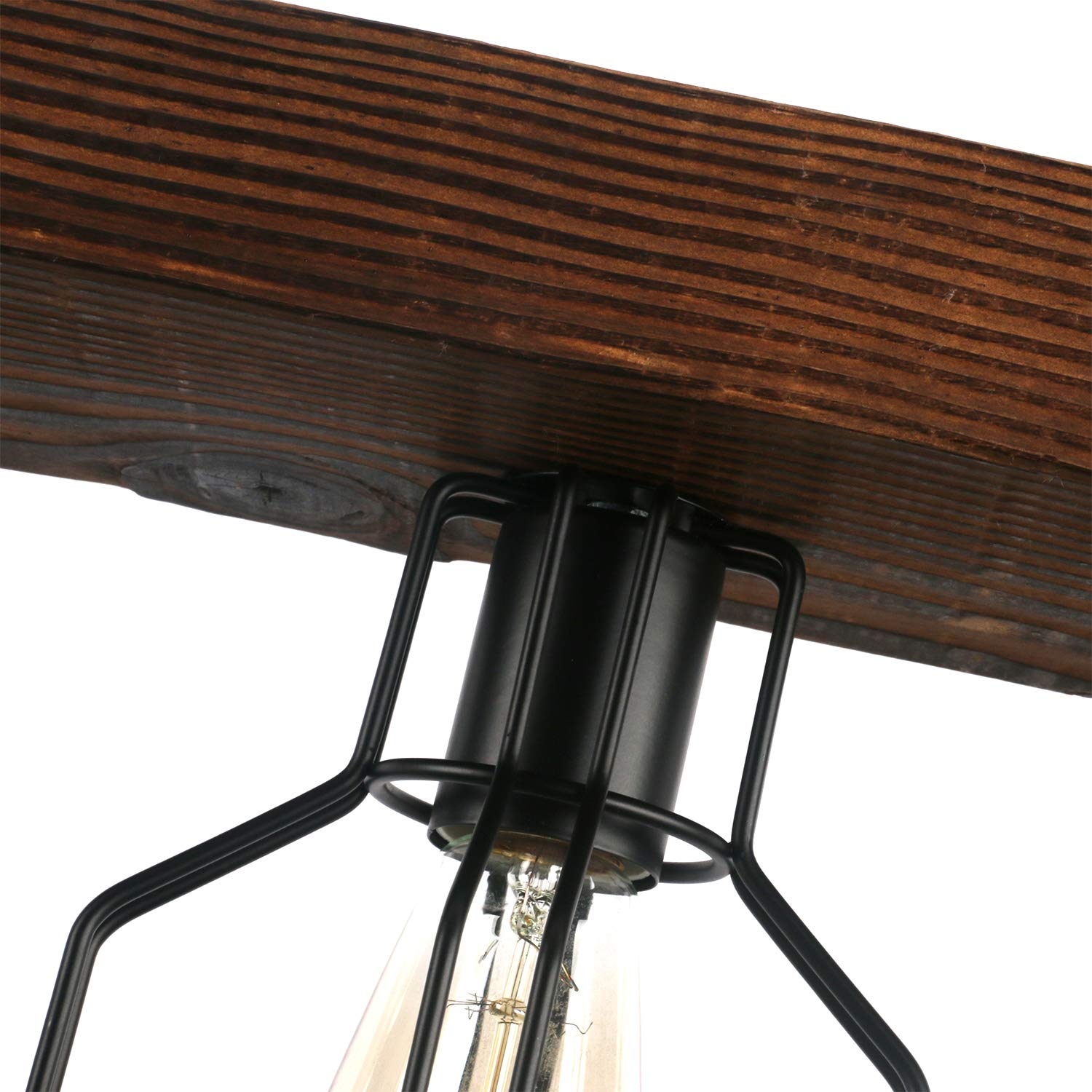 Unitary Brand Vintage Black Metal and Wood Body Cage Shade Kitchen Island Lighting with 4 E26 Bulb Sockets 240W Painted Finish by Unitary (Image #5)