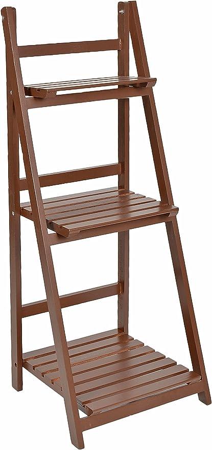 ts-ideen - Mueble para flores estante escalera estantería de pared balcón jardín colorado plegable marrón: Amazon.es: Jardín