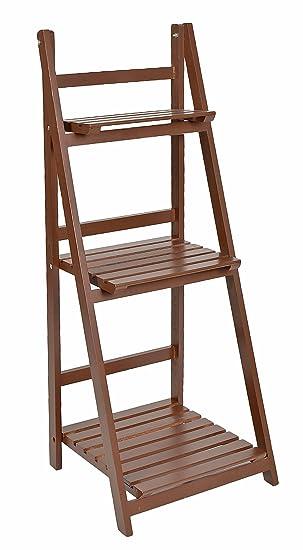 ts-ideen Etagère escalier 3 marches pour plantes et déco Marron ...