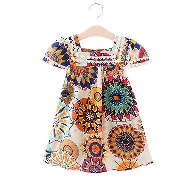 bdab707732fb9 Baby Boys Girls Fashion Dress Summer Floral Dress Cotton Baby Girls ...