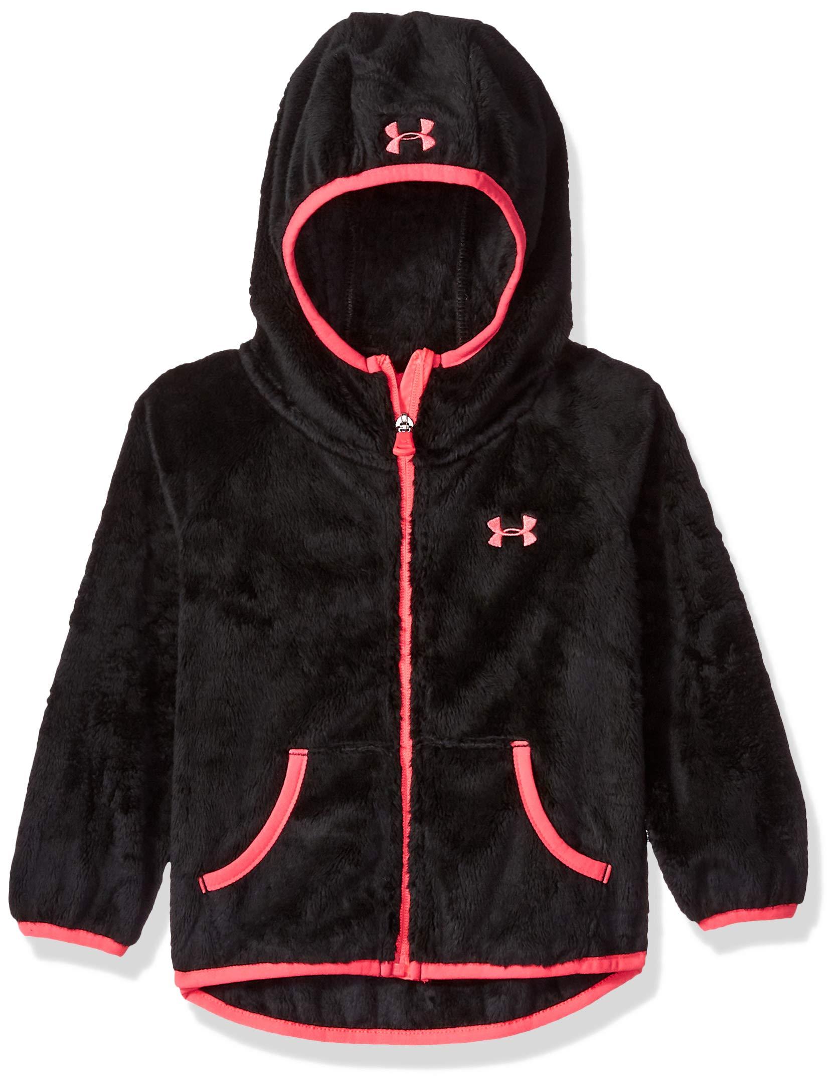 Under Armour Girls' Big ColdGear Cozy Hooded Jacket with Pocket, Black, Large (12/14)