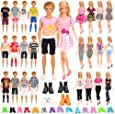 Barwa 24 Accessories Selected Randomly for 11.5 - 12 Inch Girl Boy Dolls and 12 Inch Boy Dolls: 6 Clothes + 4 PCS Shoes for Boy Dolls + 3 Tops + 3 Pants + 3 Dresses + 5 PCS Shoes for Girl Dolls