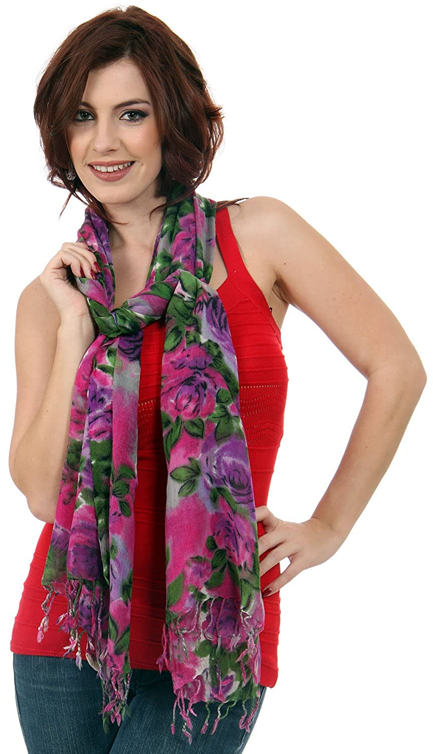 MOKA's Womens Roses print Wool Scarf in Fuchsia/Purple 27.5x72 inches