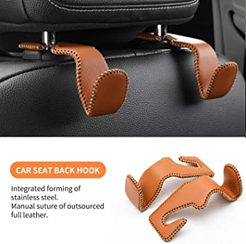 Pack of 2 Car Back Seat Headrest Hanger Vehicle Beige Superior Leather Storage Hook Car Hooks for Purses and Bags