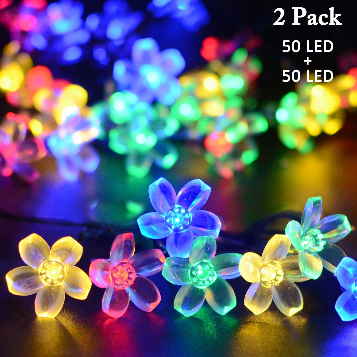 vmanoo solar outdoor christmas string lights 21ft 50 led fairy flower blossom decorative light for indoor garden patio party xmas tree decorations 2 pack