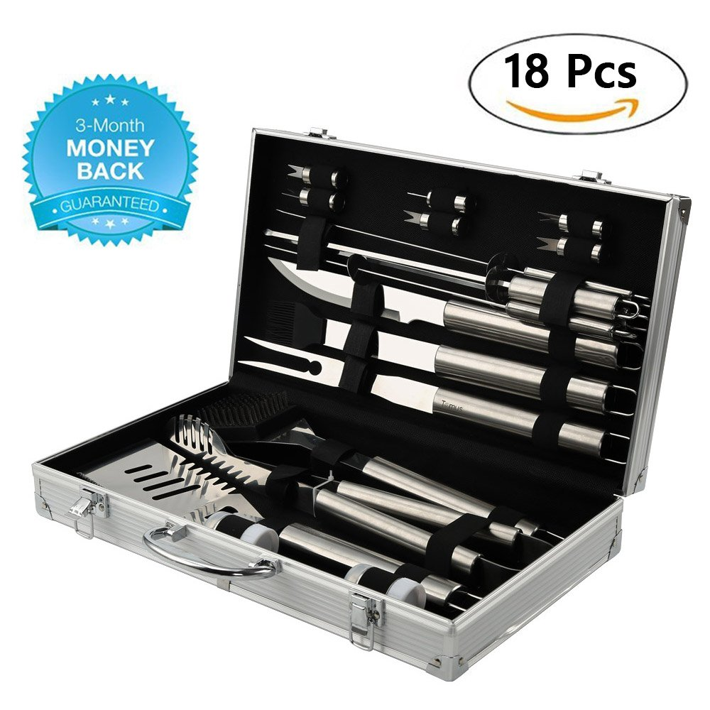 BBQ Grill Tools Set with 18 Barbecue Accessories - Stainless Steel Utensils with Portable Aluminium Carrying Case - Complete Outdoor Grilling Kit for Party, Birthday Gift for Man (Silver)