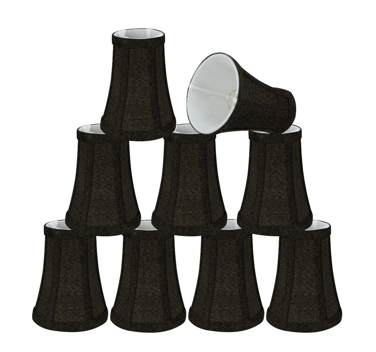Aspen Creative 30248-9 Small Bell Shape Chandelier Set (9 Pack), Transitional Design in Two-Tone Black, 4' Bottom Width (2-1/2'x 4' x 5') Clip ON LAMP Shade 4 Bottom Width (2-1/2x 4 x 5) Clip ON LAMP Shade