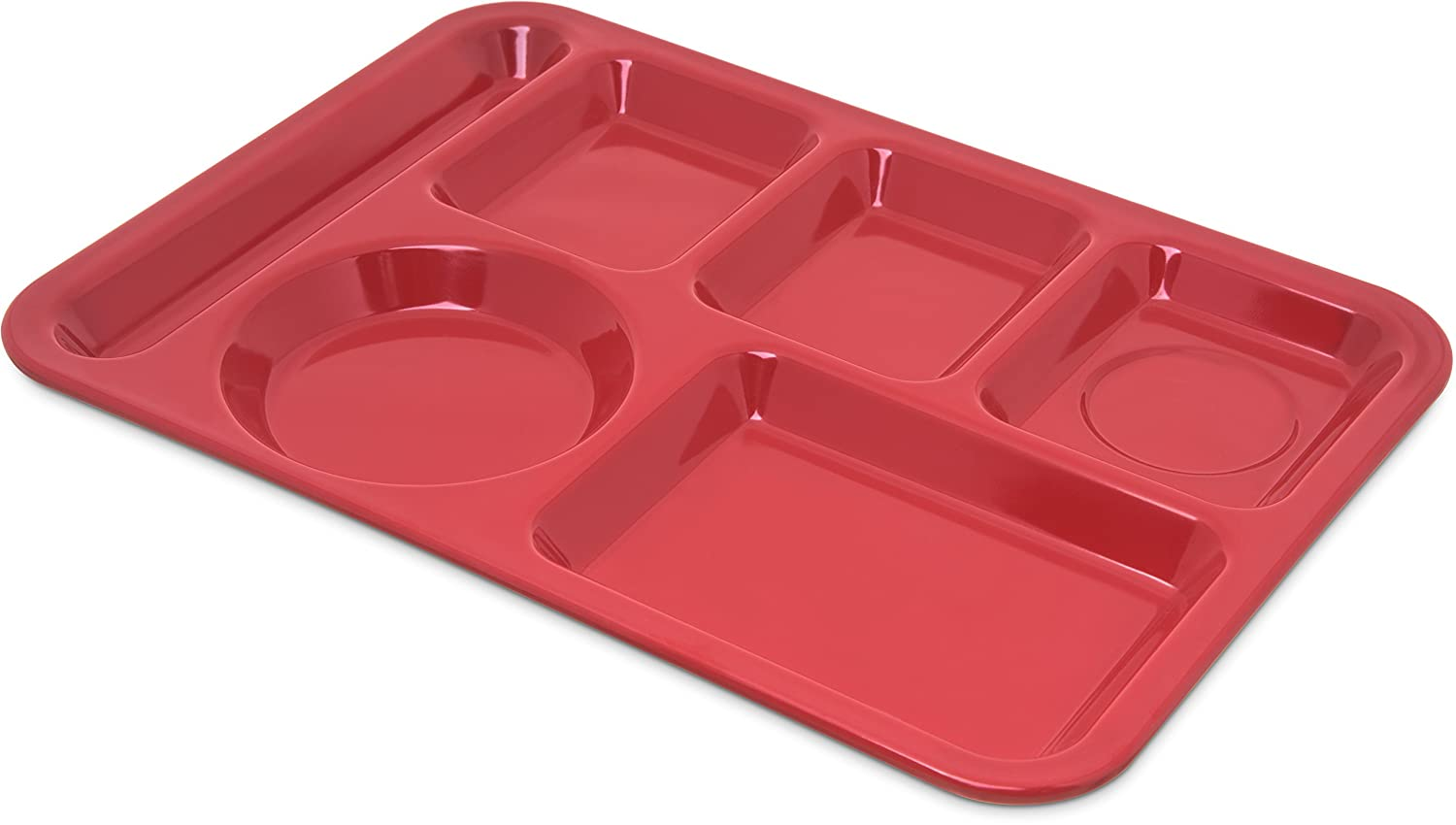 Carlisle 4398005 Left-Hand Heavy Weight 6-Compartment Cafeteria/Fast Food Tray, 10