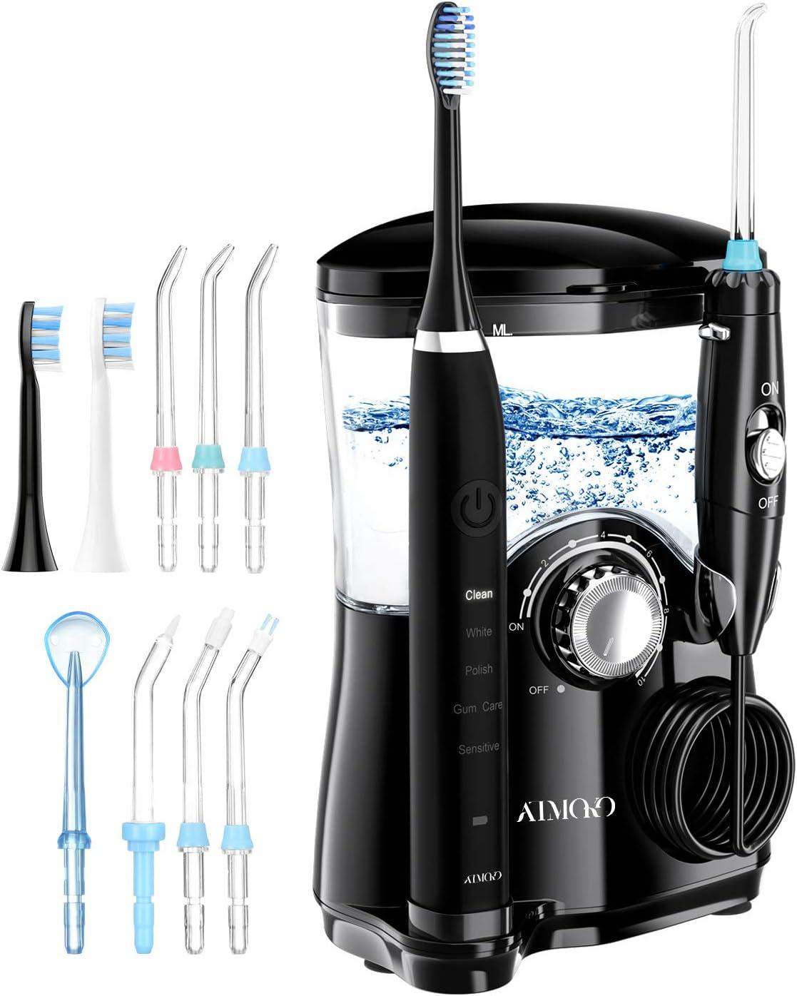 ATMOKO 2 en 1 Irrigador Dental Profesional y Cepillo electrico para Dientes, 7 Boquillas, 5 Modos con Capacidad de 600ml por 21 Días de Autonomía, 10 Ajustes de Presión del Agua, IPX7