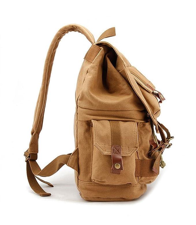 Amazon.com : Yimidear Canvas DSLR SLR Camera Backpack Hiking Travel Bag Rucksack with Shockproof Insert Case & Rainproof Cover (Khaki) : Electronics