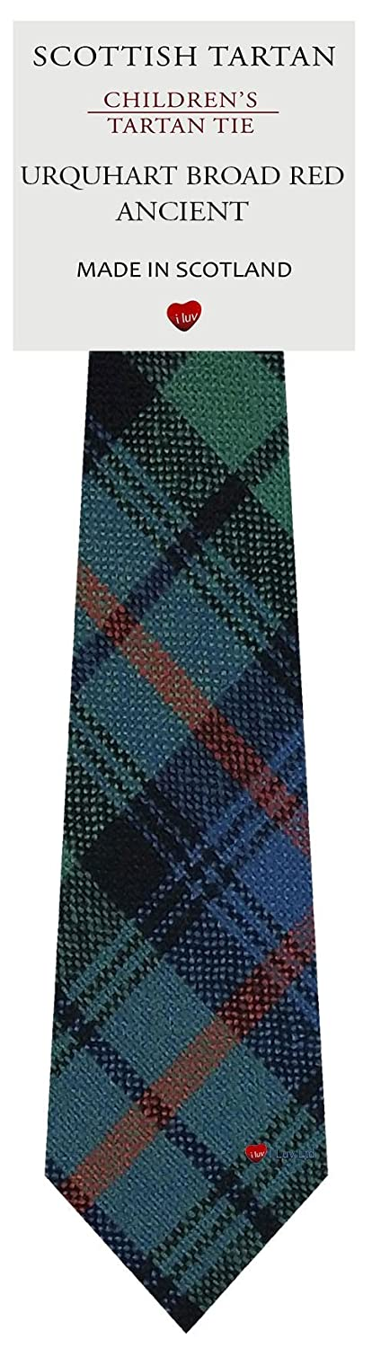 Boys Clan Tie All Wool Woven in Scotland Urquhart Broad Red Ancient Tartan I Luv Ltd