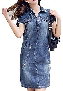 7c20b566dded07 Bevalsa Damen Elegant Jeanskleid Sommer V-Ausschnitt Kurzarm Schlank  Hemdblusenkleid Jeansbluse Freizeitkleid Partykleid Bluse Tunika