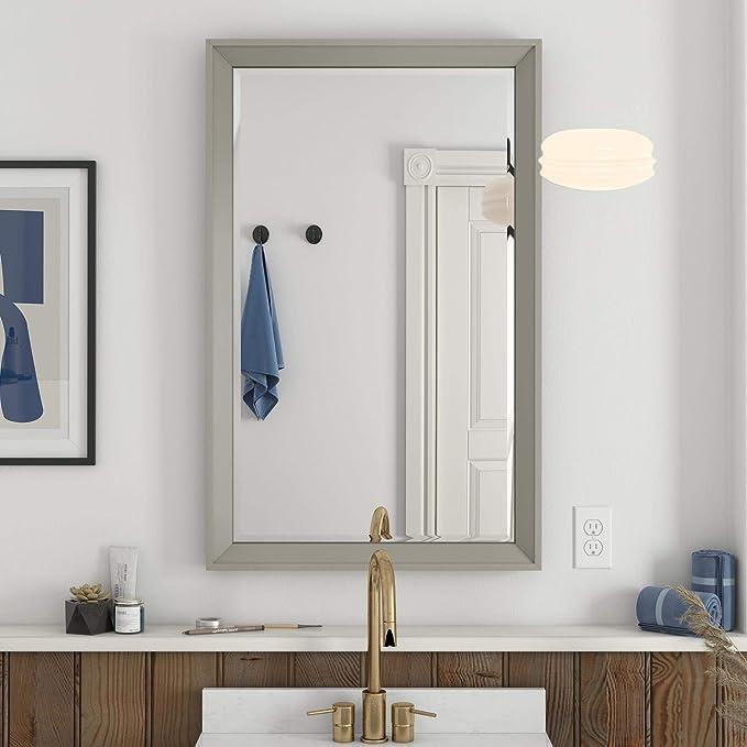 Dorel Living Tribecca 24 Inch Gray Bathroom Mirror 24 Furniture Decor