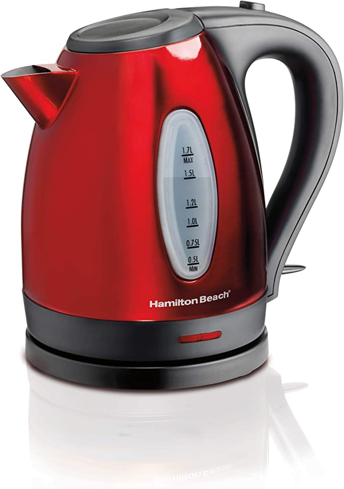 Hamilton Beach Electric Tea Kettle, Heat and Boil Water, 1.7 L, Cordless, Auto-Shutoff & Boil Dry Protection, Red Stainless Steel (40885)   Amazon