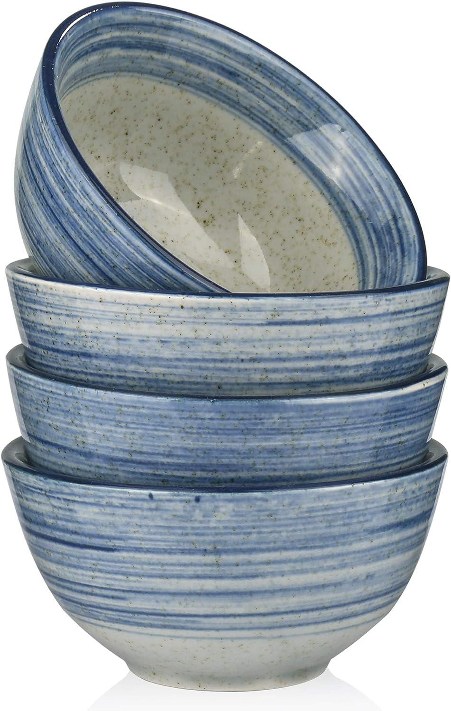 "MARSTRACE Blue Gray Porcelain Rice Bowls,4.5""(10 Oz) Small Ceramic Bowls for Cereal,Dessert,Snacks,Appetizer, Side Dishes, Condiments,Microwave & Dishwasher Safe,Set of 4"
