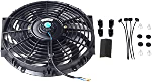 "12"" inch Universal Slim Fan Push Pull Electric Radiator Cooling 12V Mount Kit Black"
