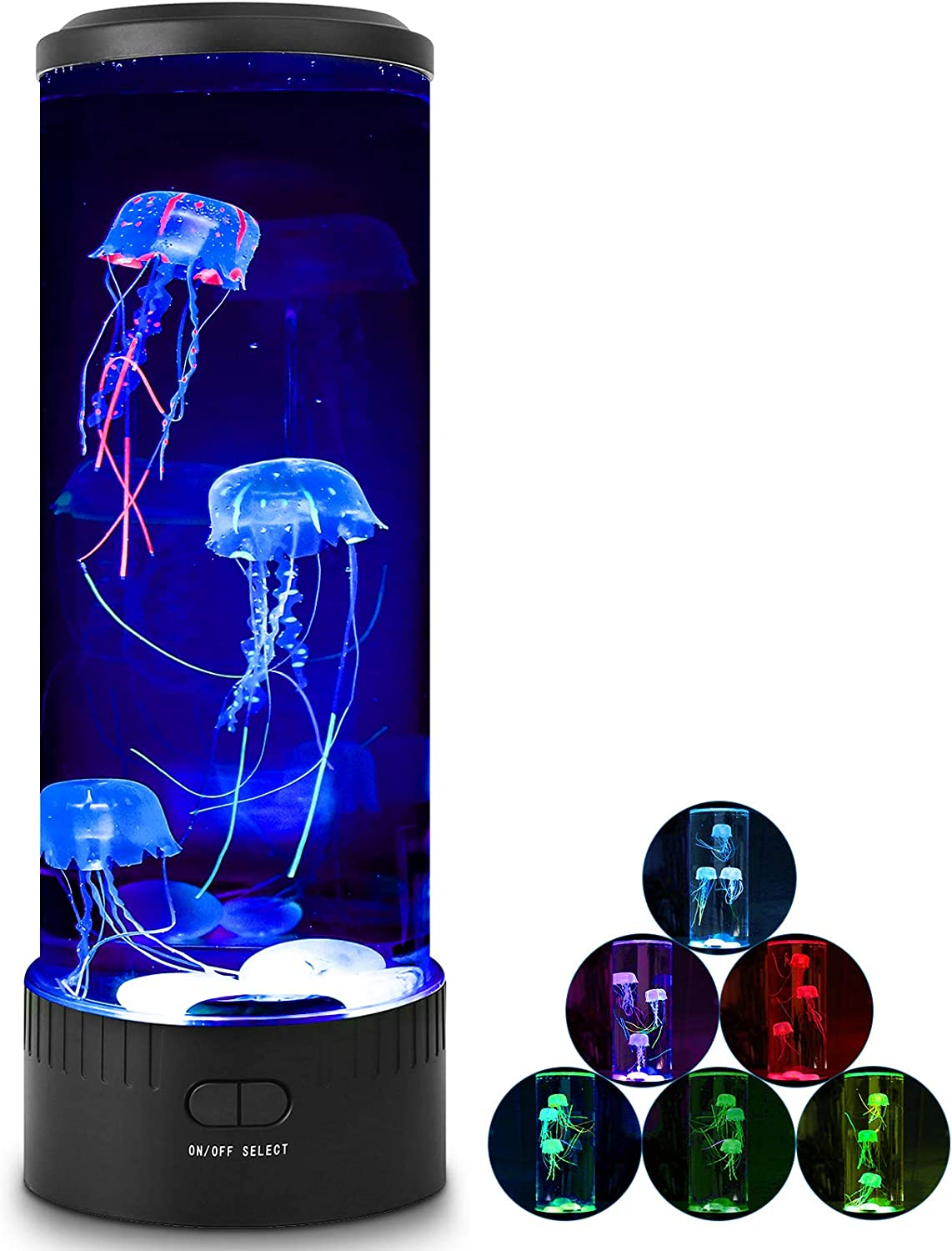 Recoty Jellyfish Lamp with 7 Color Changing Light Lava Lamp for Kids, Jellyfish Aquarium Tank Lamp with Agate stones for Home Office