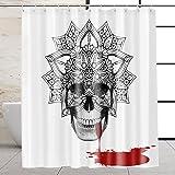 VEGA U Skull Shower Curtain for Bathroom, Skeleton Themed Bath Decor with Hooks, 72x72 Inch