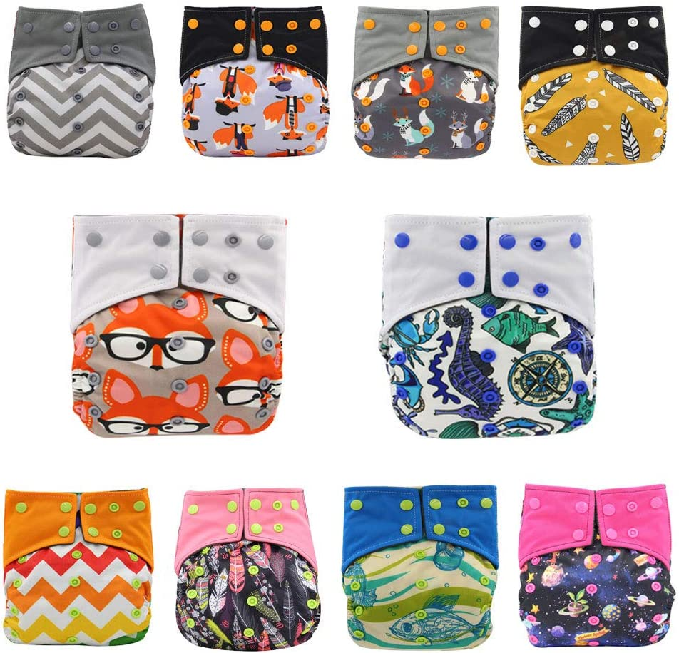 101# JOYKK Charcoal Bamboo Baby Cloth Diapers Nappies Reusable Washable Colorful Print 2 Gussets