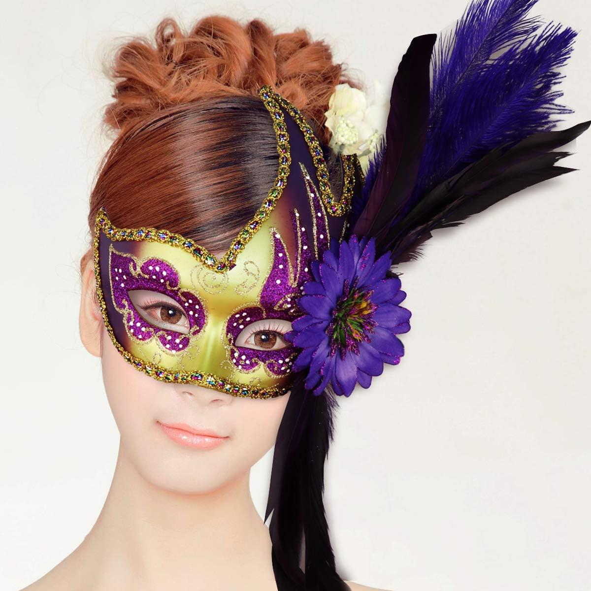 masque de costume de Halloween v/énitien 2 Pack Thmyo Masque de fleur de plume Masque de bal Masque de f/ête rose et or