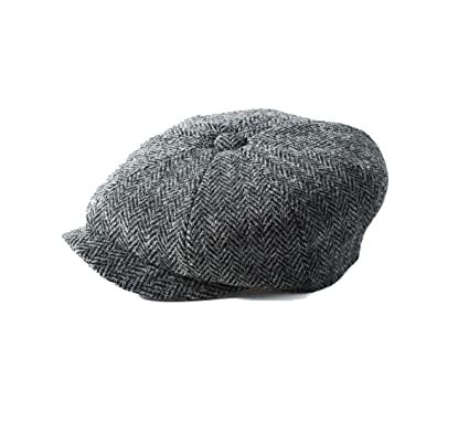 41c613a2651 Failsworth Hats Carloway 8-Piece Bakerboy Harris Tweed Grey 4615 (56cm - 6 7