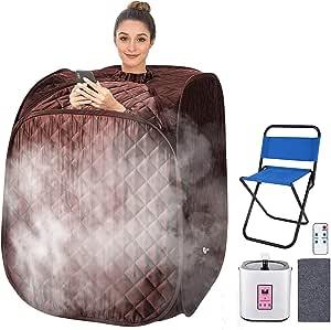 Portable Steam Sauna Spa Set, Folding Home Spa Sauna Tent, Weight Loss,Detox.with 2L Steam Pot, 9 Temperature Levels,Folding Chair,Remote Control&Big Tent (31.5'x31.5'x40.6') (Dark Coffee)