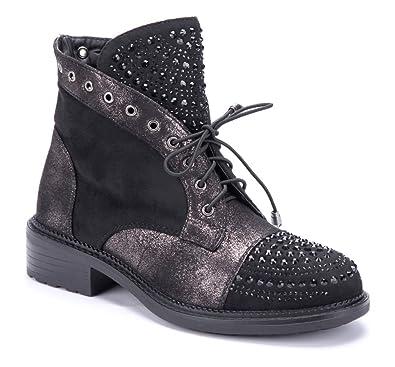5cb84cf67876e0 Schuhtempel24 Damen Schuhe Klassische Stiefeletten Stiefel Boots schwarz Blockabsatz  Ziersteine Nieten Glitzer 4 cm