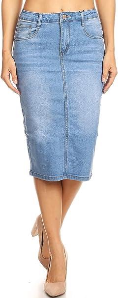 latest discount ever popular footwear Womens Plus/Juniors Mid Waist Below Knee Length Denim Skirt in Pencil  Silhouette