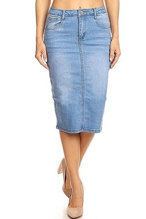 7115ea38e Womens Plus/Juniors Mid Waist Below Knee Length Denim Skirt in Pencil  Silhouette at Amazon Women's Clothing store: