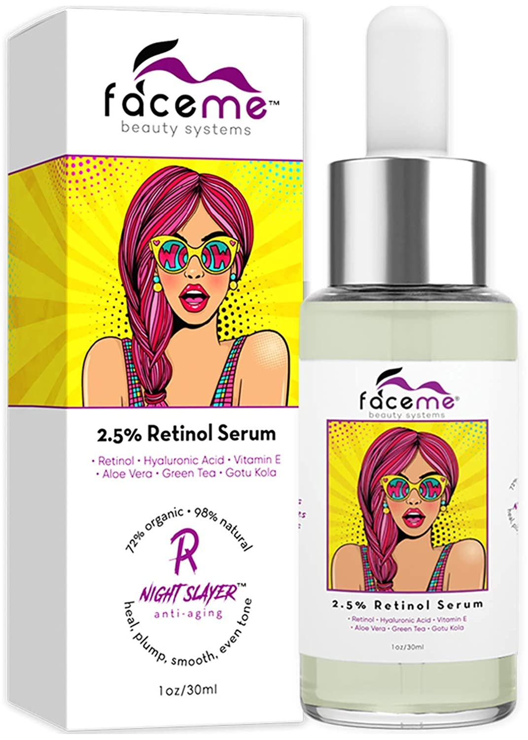 Retinol Serum 2.5% Clinical Strength for FACE. Organic & Natural, Supreme Anti-aging formula with Super Hydrating Hyaluronic Acid, Antioxidants & Plant Botanicals. Builds Collagen, Fights Acne. 1oz