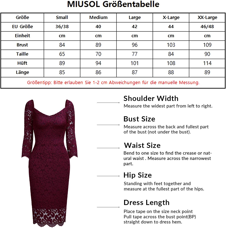 MIUSOL Damen Elegant Vintage Spitzenkleid Etuikleid 3//4 Arm Business Partykleid Gr.S-XXL