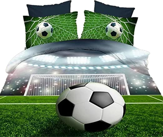 DECMAY 4 PCs 3D Boys Soccer Bedding Cool 3D Football Print Duvet Cover Set for Kids and Teens Twin Size Comfortable Soccer Ball Bed Sheet Set for