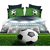 Ammybeddings 4PCs 3D Football Comforter Cover Set Soccer Ball Duvet Cover Sets Twin Size Bedding for Kids 4 Pillowcases 1 Flat Sheet and 1 Duvet Cover 100% Polyester (No Comforter No Fitted Sheet)