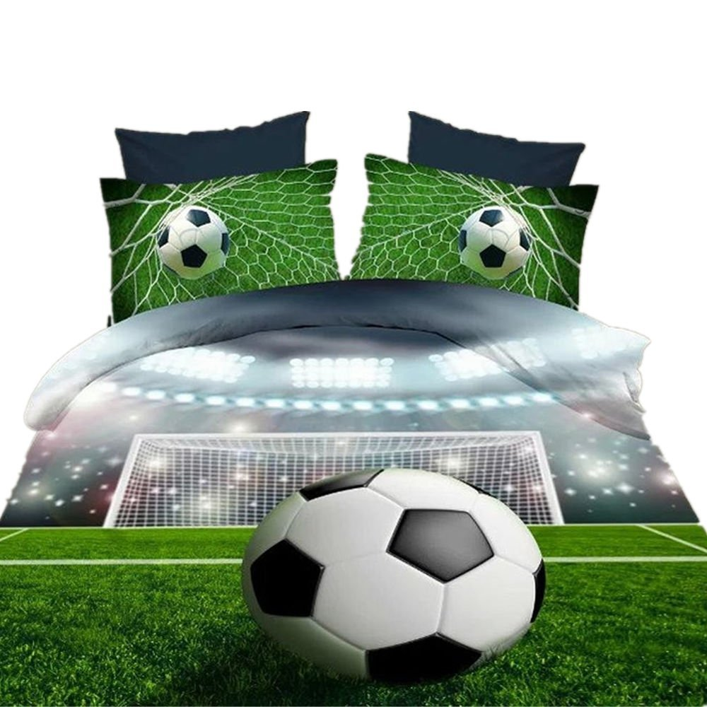 Ammybeddings 4PCs 3D Football Comforter Cover Set Soccer Ball Duvet Cover Sets Full Size Bedding for Kids 4 Pillowcases 1 Flat Sheet and 1 Duvet Cover 100% Polyester (No Comforter No Fitted Sheet)