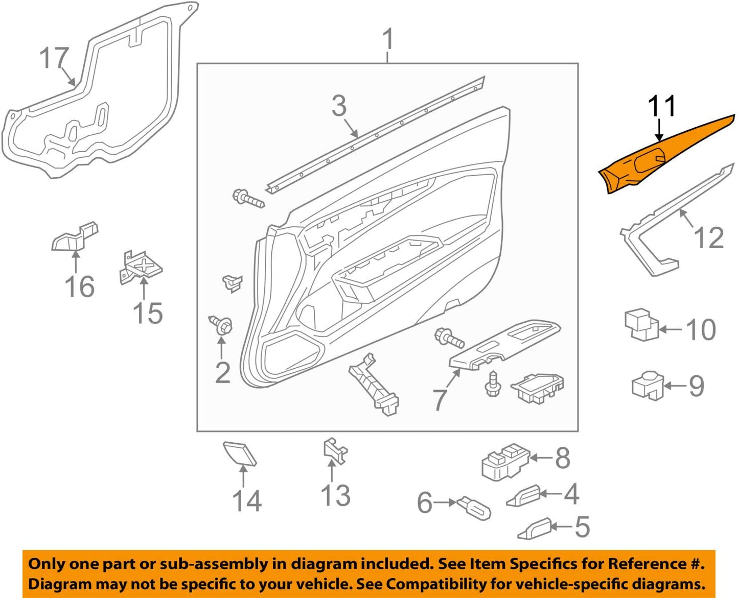 Rear Honda Genuine 74890-TR3-A11ZA License Garnish Assembly
