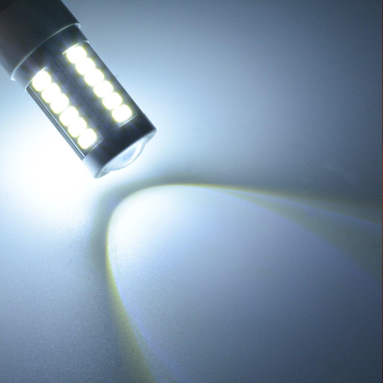 KATUR 2-Pack Super White 950Lums 3156 3156A 3456 Base 33 SMD 5050 LED Replacement for Car Incandescence Bulb RV Camper Brake Turn Lamp Lights DC 12V 6500K