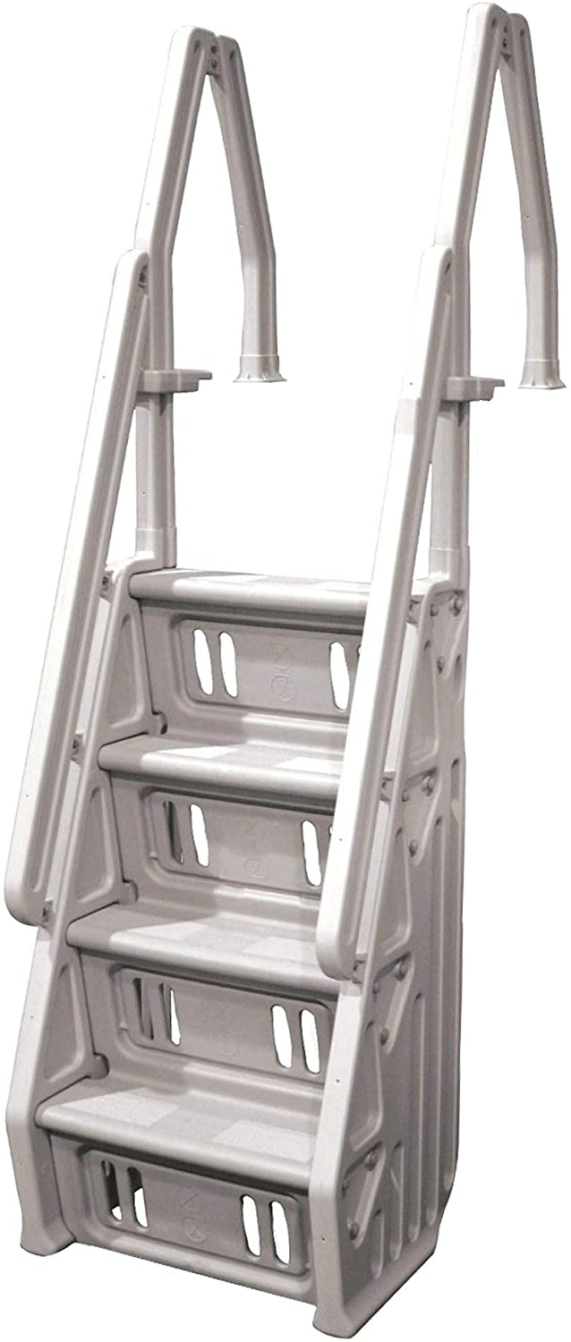 Vinyl Works Deluxe Adjustable 24 Inch in-Pool Step Ladder Entry System for Above Ground Swimming Pools, Taupe : Swimming Pool Ladders : Garden & Outdoor