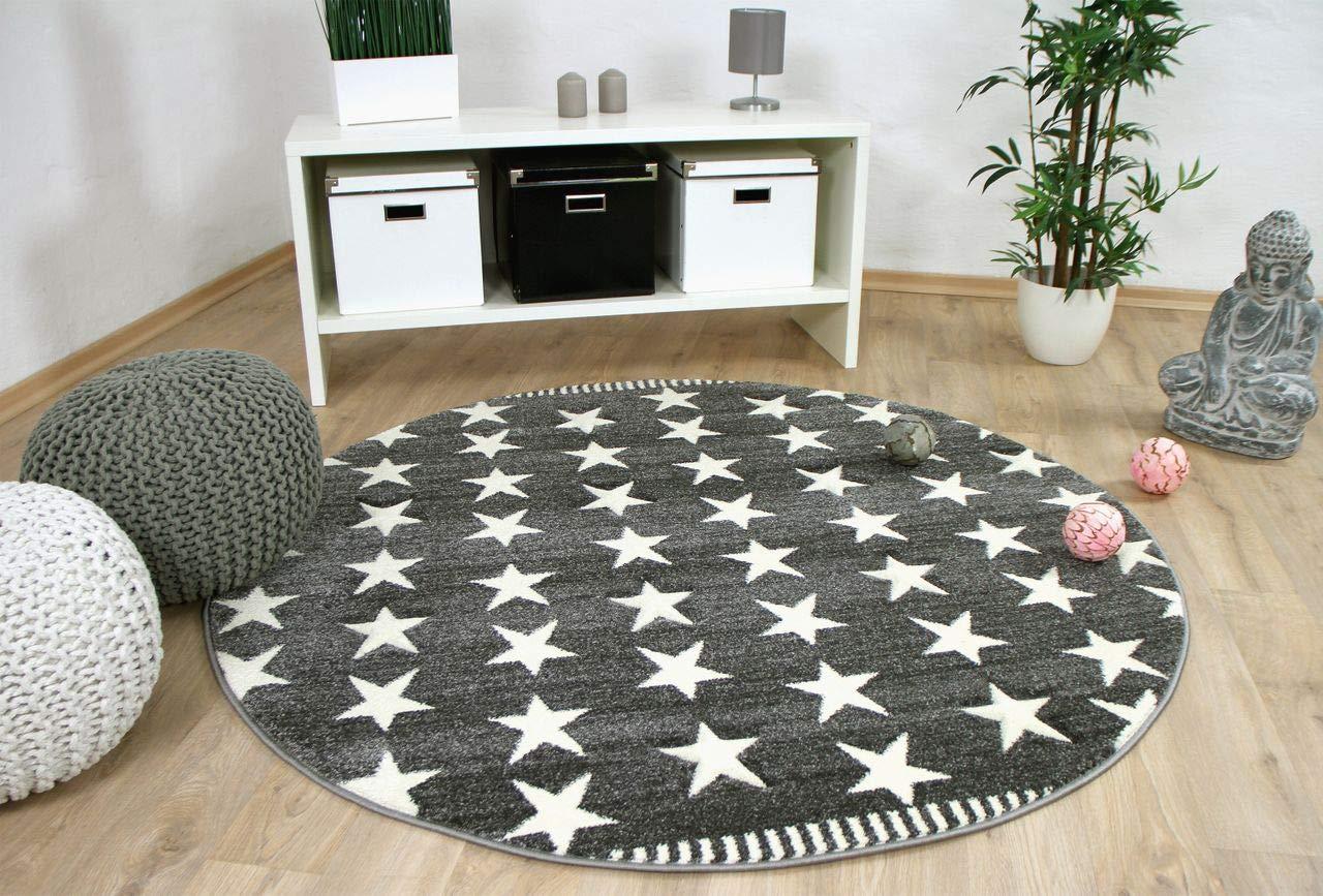 Savona Kids - Alfombra para niños y jóvenes redonda - estrellas - gris crema en 3 tamaños