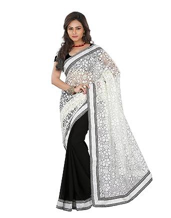 9c24293ac8 Brasso Fabric White Black Colour Wedding Wear Floral Print Saree With Art  Silk Black Un Stitch Blouse: Amazon.in: Clothing & Accessories