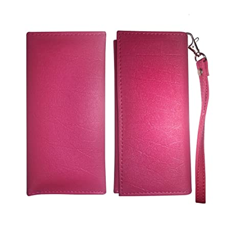 Fastway Leather Wallet Universal Pouch Cover Case For HTC Desire 10 Pro  Pink