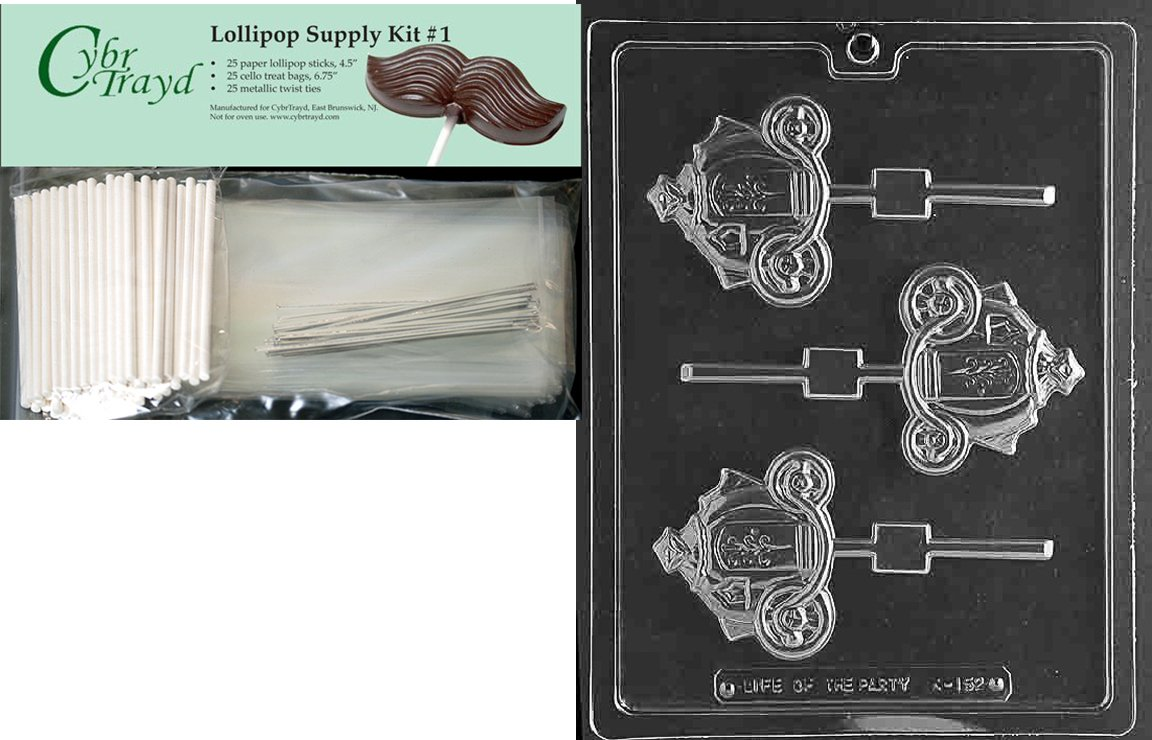 Cybrtrayd 45StK25S-K152 Pumpkin Coach Lolly Kids Chocolate Candy Mold with Lollipop Supply Bundle, Includes 25 Lollipop Sticks, 25 Cello Bags, 25 Silver Twist Ties, Instructions
