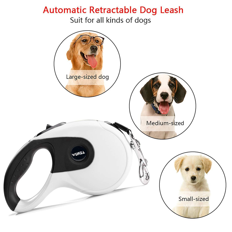 OUGE Roll-Leine Hundeleine Einziehbare Führleine Seil Starke Leine für Hunde EIN Knopf Break & Lock für Sicherheit Gurt bis zu 5 Meter für Hunde bis max. 50 kg, Rollleine & Hundekotbeutel inklusive