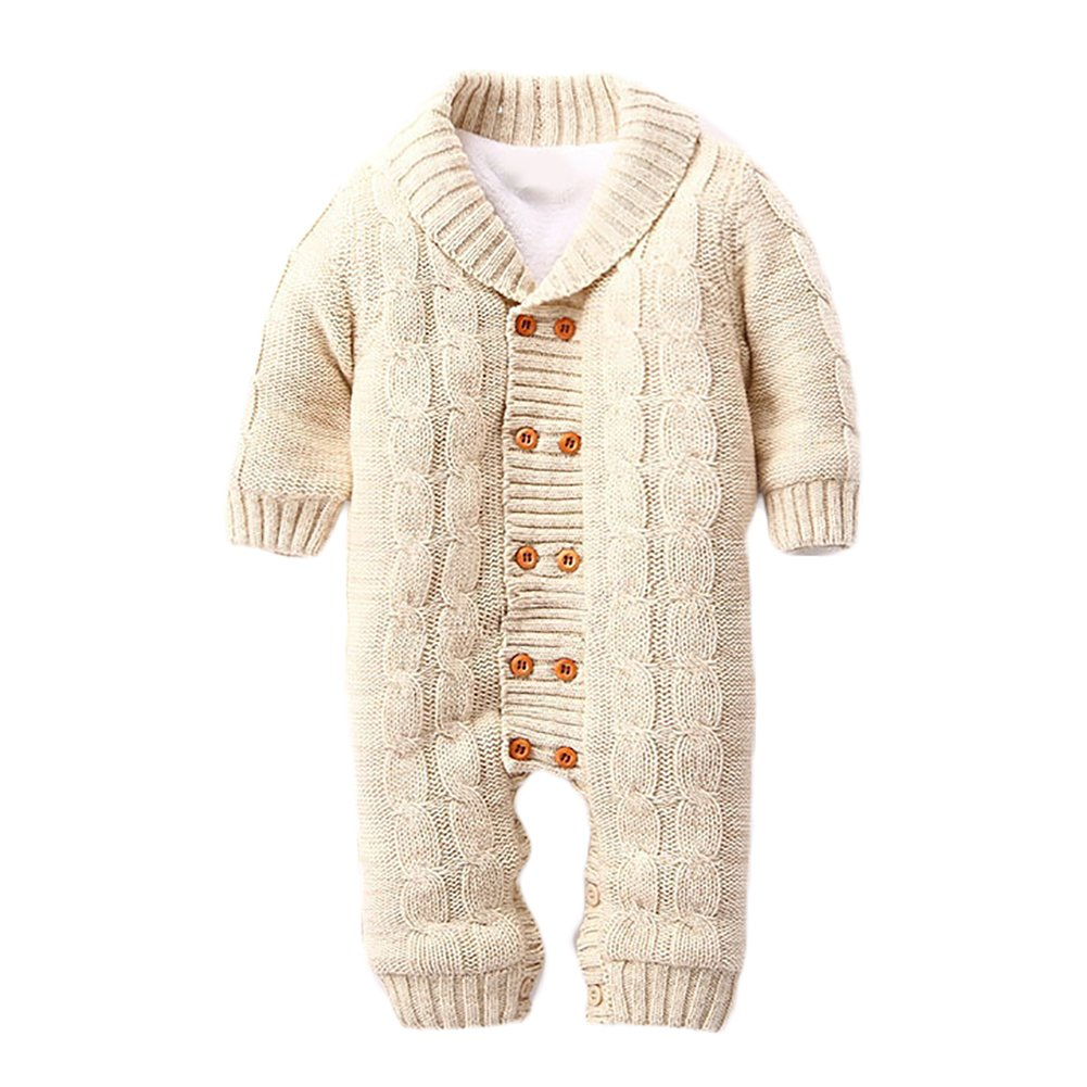 LSERVER Infant Newborn Baby Christmas Sweater One Piece Colorblock Solid Knit Jumpsuit For Winter