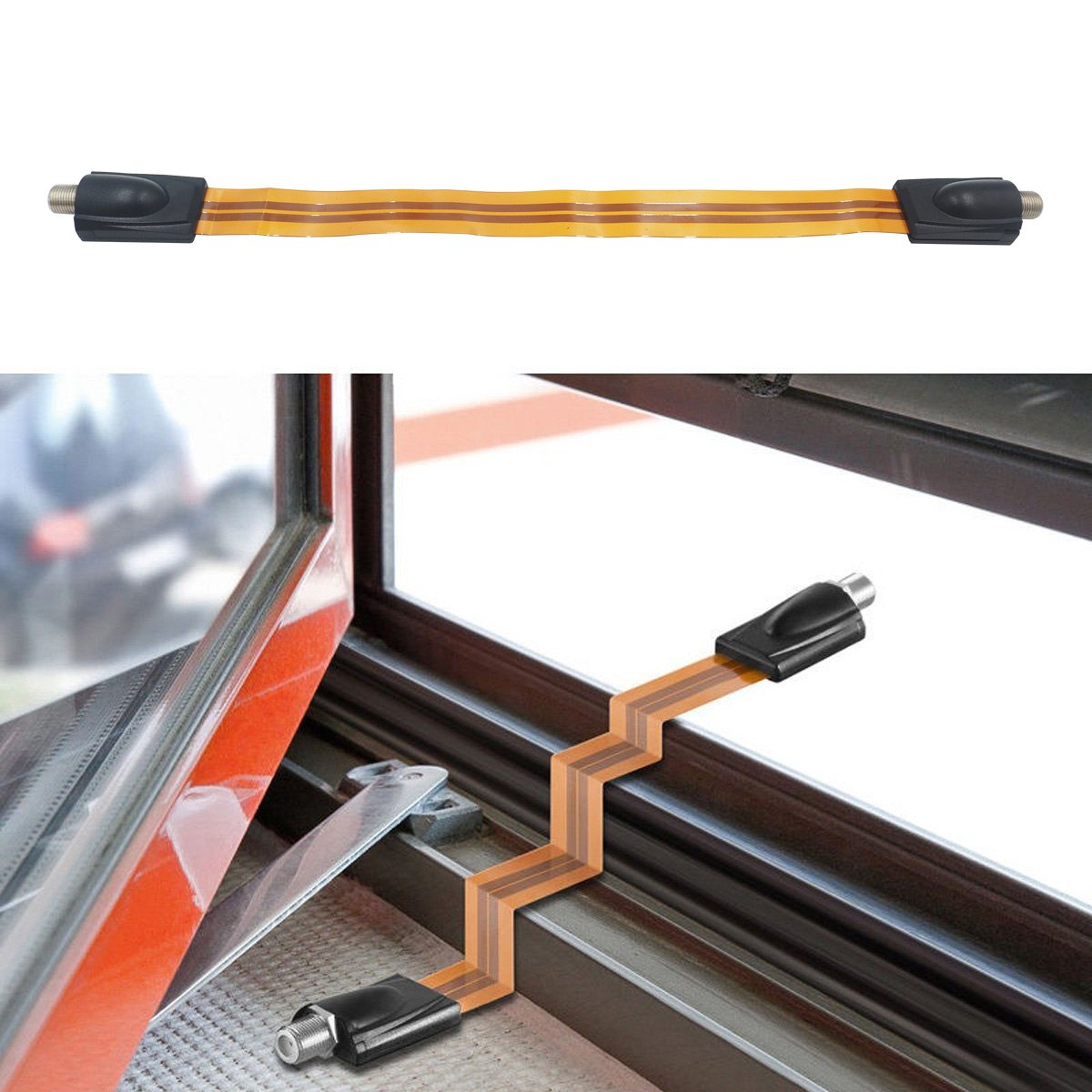 1Ft Length YXQ Ghost Wire Flat RG6 Coax Jumper Cable Connector F Type Female to Female Extreme Slim for Windows and Door