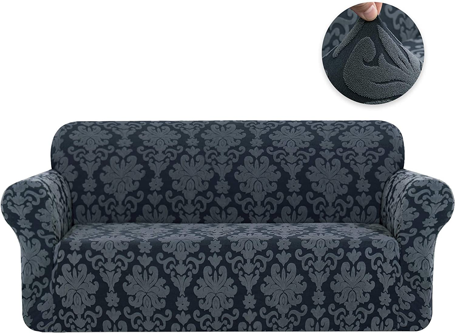 Chocolate CHUN YI 1-Piece Stretch Jacquard Damask Elegant Collection Loveseat Slipcover Easy Fitted Couch Cover Stretchable Durable Furniture Protector
