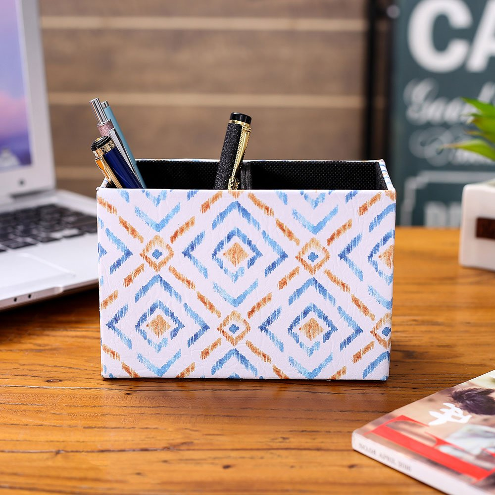 LINKWELL Colorful Ikat Pattern PU Leather Rectangular Pencil Pen Holder Desk Organizer PH28 by LINKWELL (Image #3)