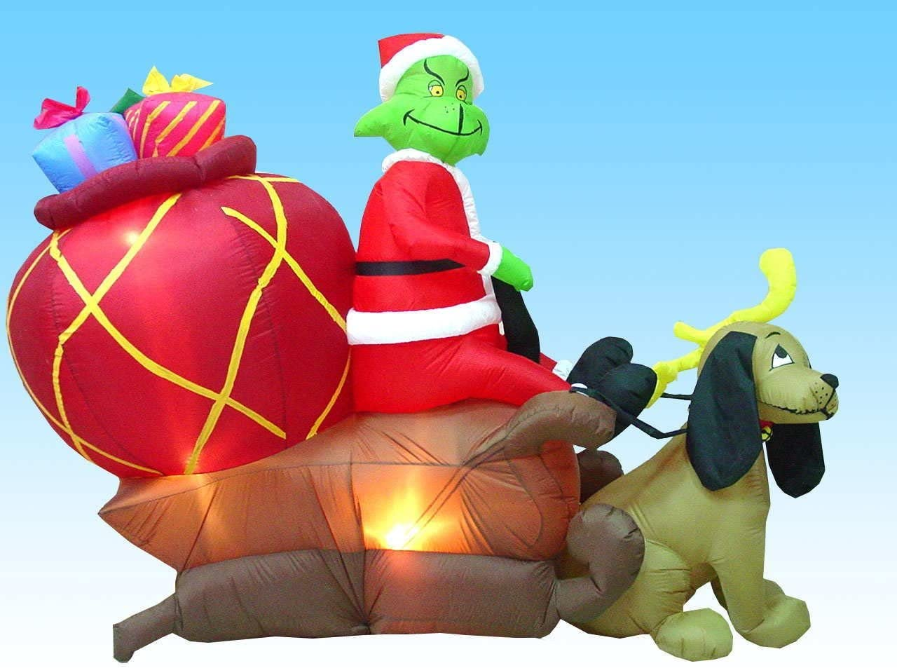 Amazon.com: Airblown Inflatable 7 Ft Tall Grinch in a Sleigh with